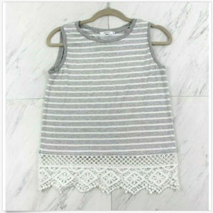 Bailey 44 Small Sleeveless Striped Tank Top Lace